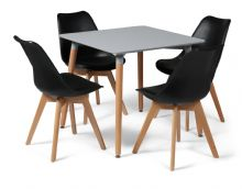 Toulouse Dining Set  - 80cms Square Grey Table & 4 Black Chairs